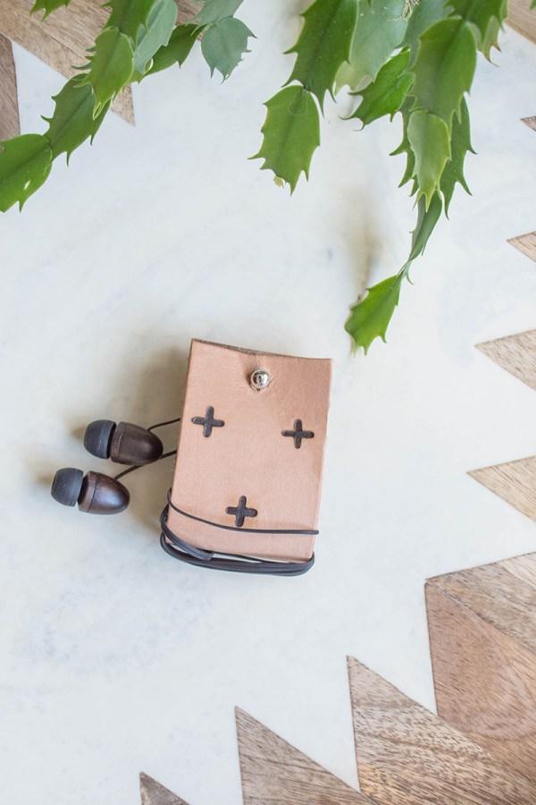 Make a Leather DIY Earbud Holder