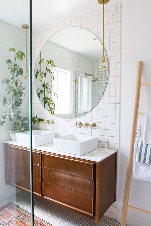 Midcentury credenza in bathroom
