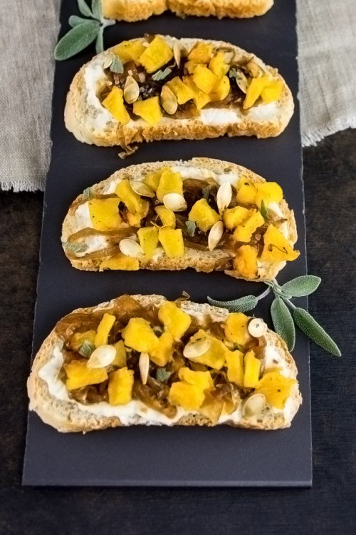 Fall appetizer: This caramelized onion, ricotta, and roasted squash bruschetta would make a great Thanksgiving appetizer