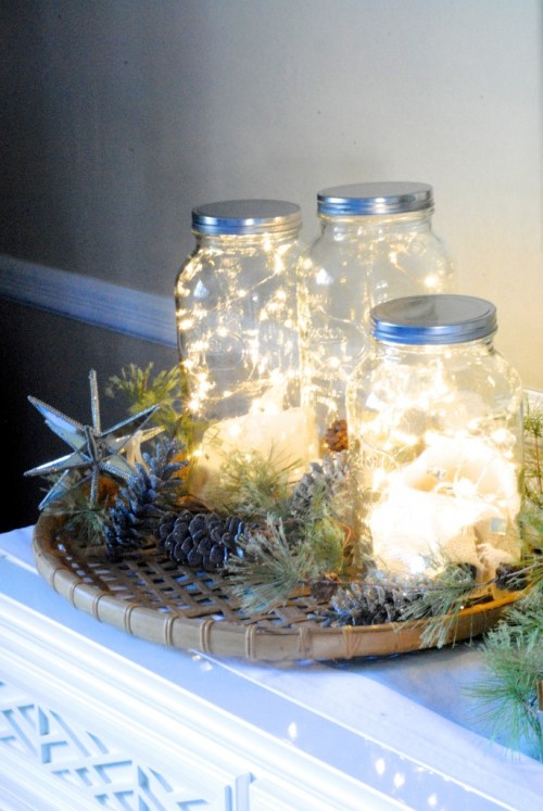 Simple DIY holiday decor ideas using white lights: jars + lights