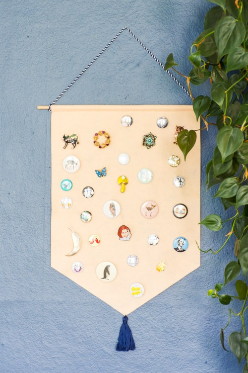 Your pin collection can double as wall art when you make this DIY pin storage banner.