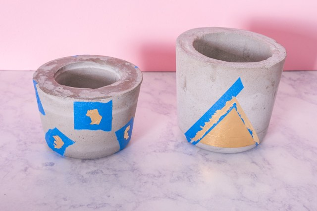 DIY concrete and gold plant pots