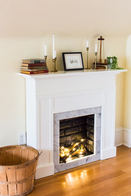 Fabulous DIY Faux Fireplace Mantel with Tile and Faux Brick SS63