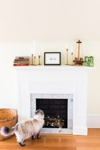 DIY Faux Fireplace Mantel with Tile and Faux Brick