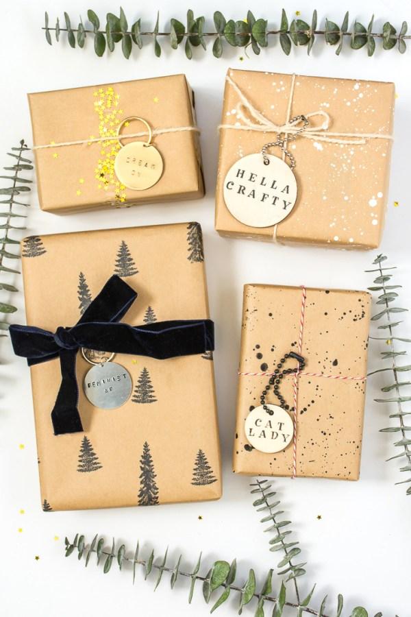 DIY Key Ring Gift Tags in Wood or Metal