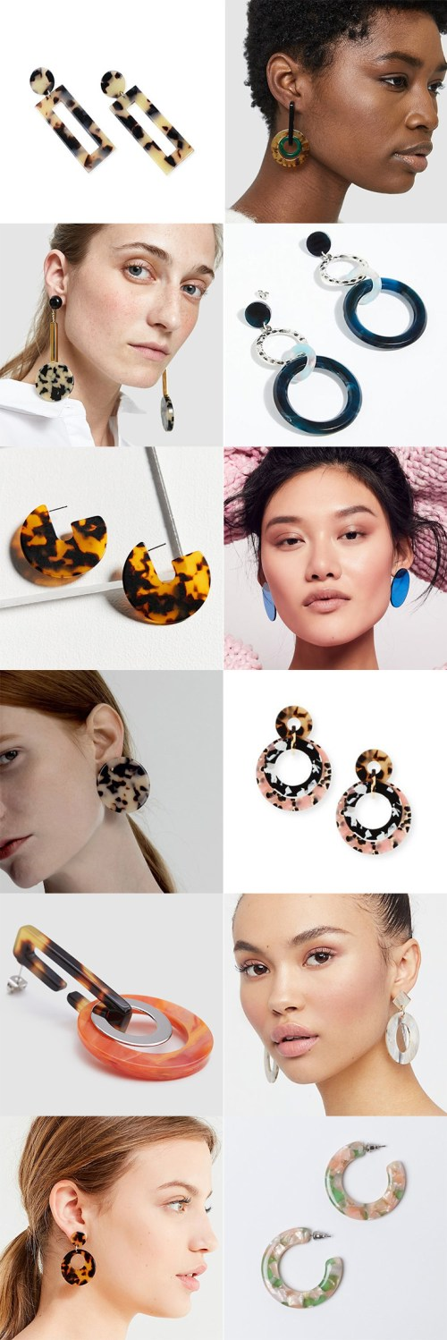 Spring jewelry trend: Acrylic statement earrings