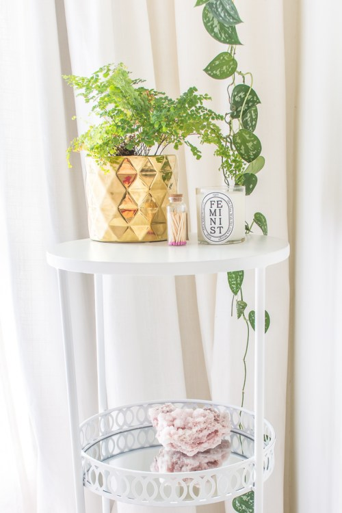 Side table after spray paint #DIY