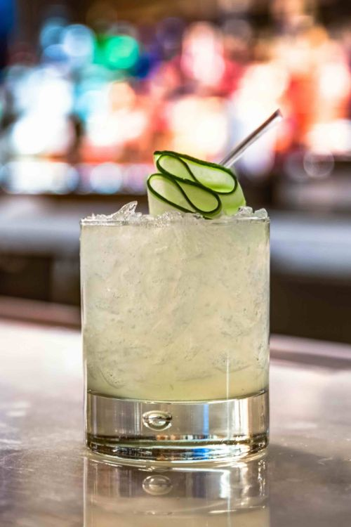 Cucumber gimlet mocktail