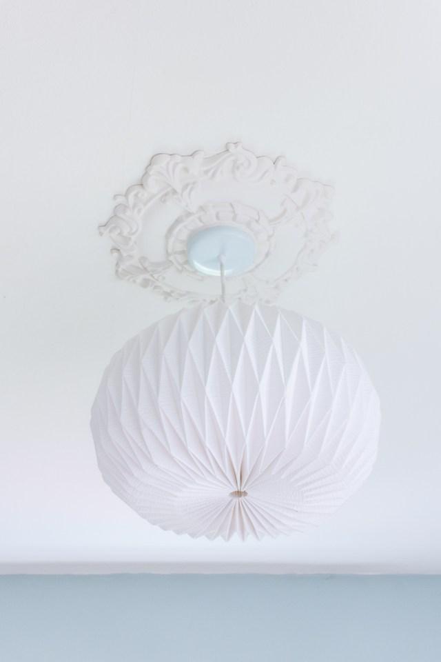 ceiling medallion + paper lantern