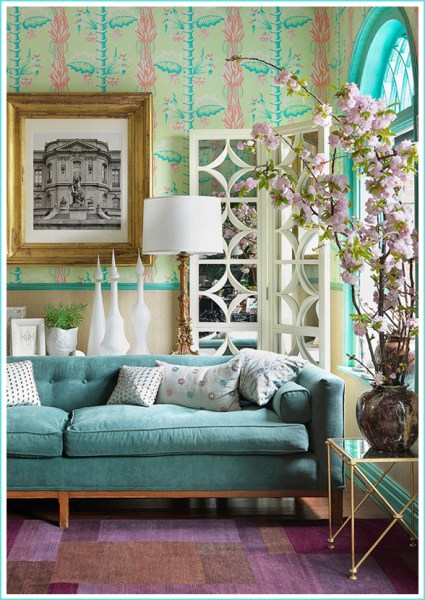 pink and aqua living room Turquoise | diyinteriordesigns