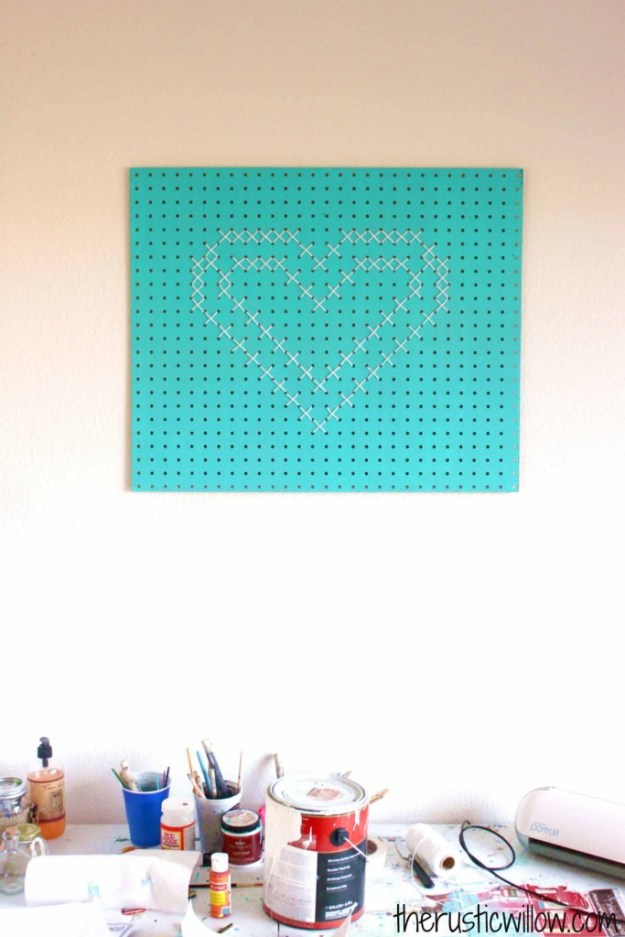 Rustic DIY Decor Ideas | Cross stitch Pegboard