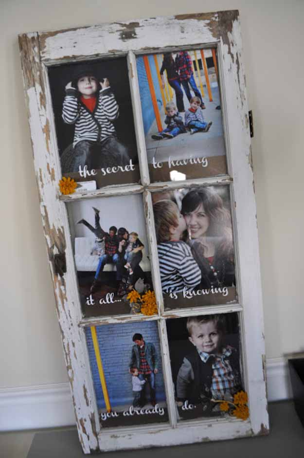 4 diy picture frame from old window - Diy Picture Frame Ideas