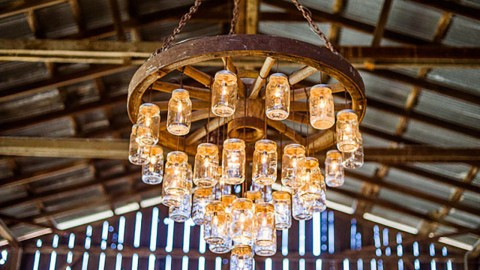 Brilliant Wagon Wheel Chandelier Made With Mason Jars Diy Joy Projects And Crafts Ideas