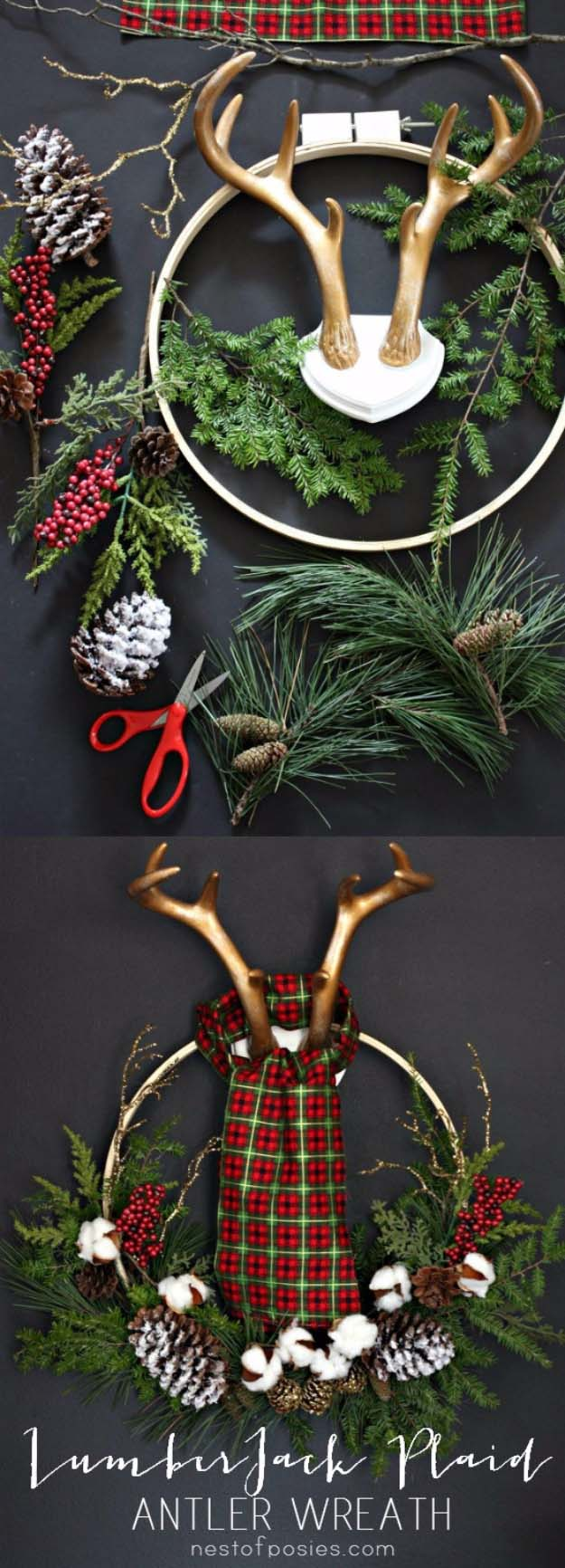 DIY Holiday Wreaths Make Awesome Homemade Christmas Decorations for Your Front Door | Cool Crafts and DIY Projects by DIY JOY | Lumberjack Plaid Antler Wreath | http://diyjoy.com/diy-christmas-decorations-wreaths