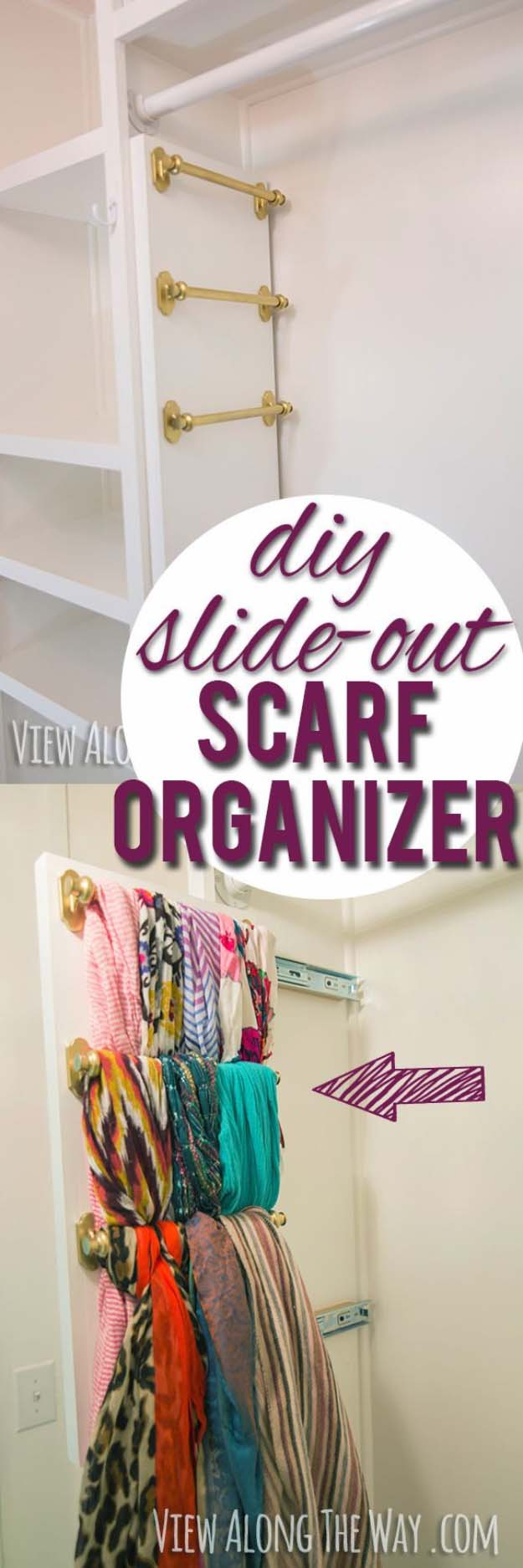 Build your own DIY Slide-Out Scarf and Belt Organizers following this step by step tutorial | View Along The Way - Closet Organization Ideas and Space Saving Hacks