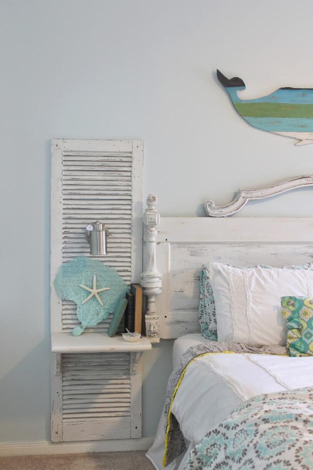 antique door headboard shutter - diy joy