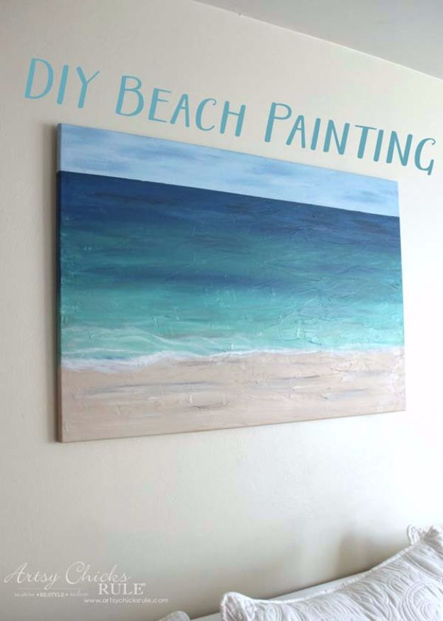 diy canvas art for living room vinyl flooring 36 painting ideas beach cool and easy wall you