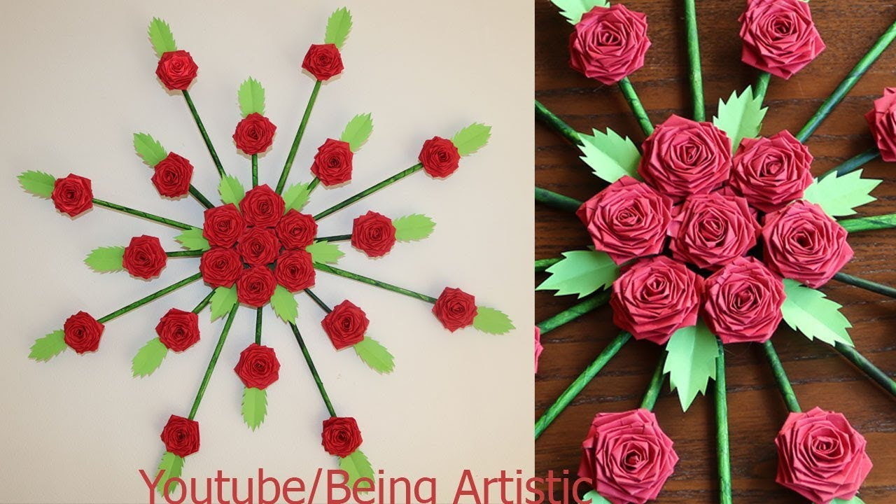 Paper Flower Wall Hanging Diy Wall Decoration Ideas Youtube