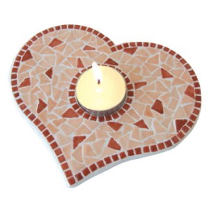 Svietnik Srdiecko vyrobený z mozaiky