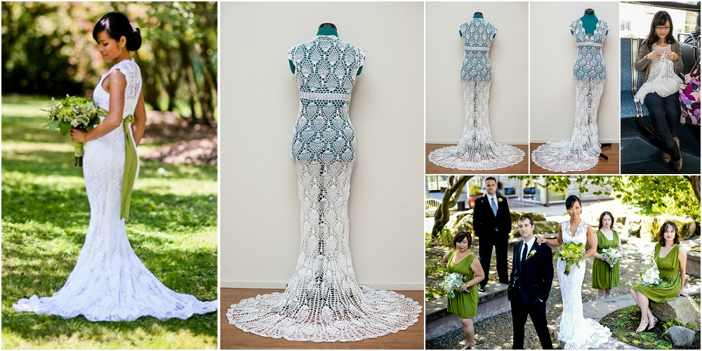 She Crocheted Her Stunning Wedding Dress Herself For Just