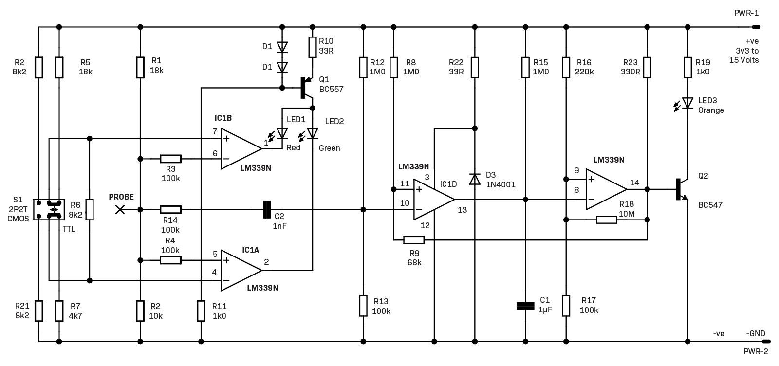hight resolution of design and make the ubiquitous logic probe diyode magazine logic probe circuit diagram for tri state logics