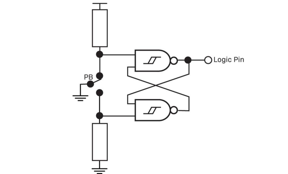 medium resolution of the circuit above uses two nand gates and a circuit we are about to explain in detail