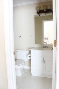 Tips for Painting a Bathroom Vanity {& Our Playroom