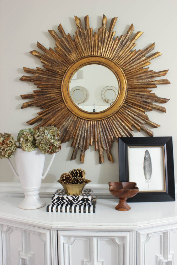 Black white and gold entryway