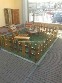 Outdoor furniture set for the garden built using ...