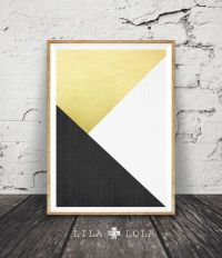 Handmade board Ideas :Black White and Gold Print, Abstract ...