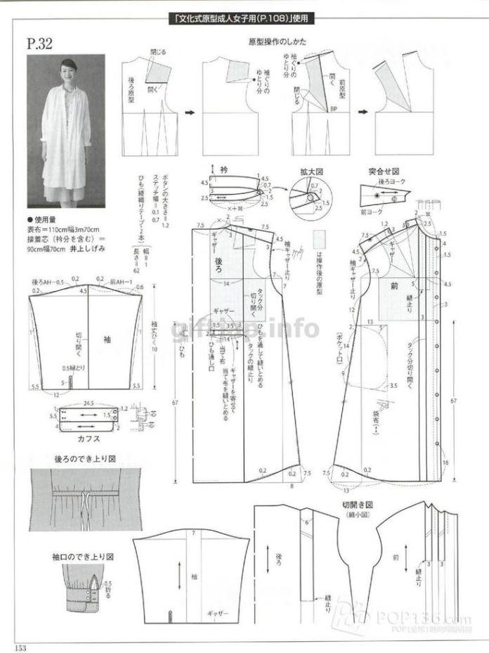 Схемы кройки дизайнерских белых блузок из ж...