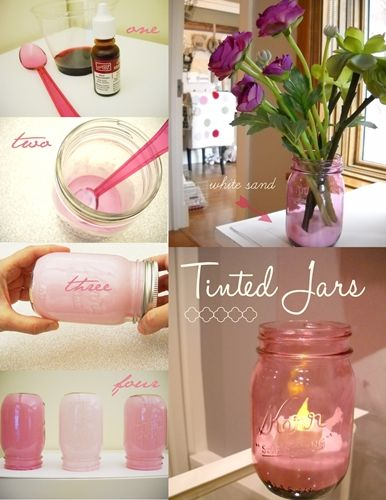 Easy to follow tutorial on how to tint your mason jars. Custom colors for every ...