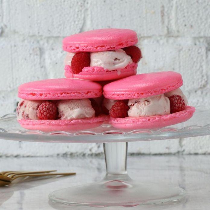 Strawberry Macaron Ice Cream Sandwich