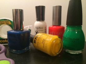 I collected some of my favorite nail polish for this project. I would recommend bright colors for a bolder look!