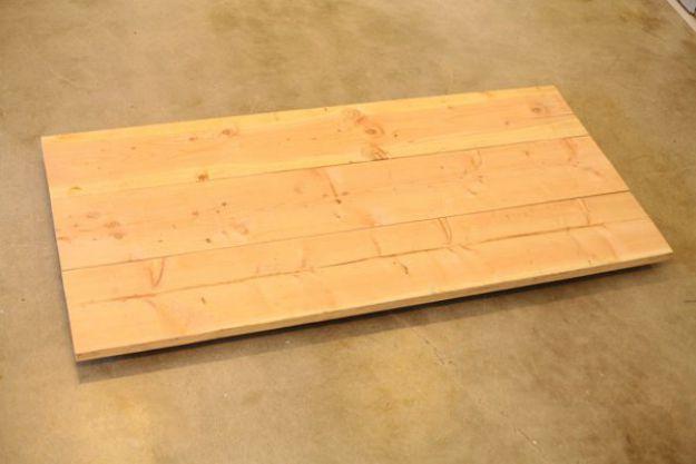 Tapa de mesa de madera | Tabla de la pierna de la pipa DIY | Planes de banco de trabajo y tutorial de muebles rústicos