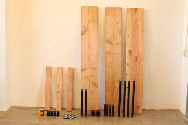 Materiales necesarios para construir una mesa de pierna de tubo de bricolaje | Tabla de la pierna de la pipa DIY | Planes de banco de trabajo y tutorial de muebles rústicos