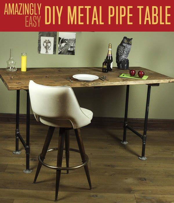 DIY Pipe Leg Table | Planes de banco de trabajo y tutorial de muebles rústicos | https://diyprojects.com/diy-pipe-leg-table/