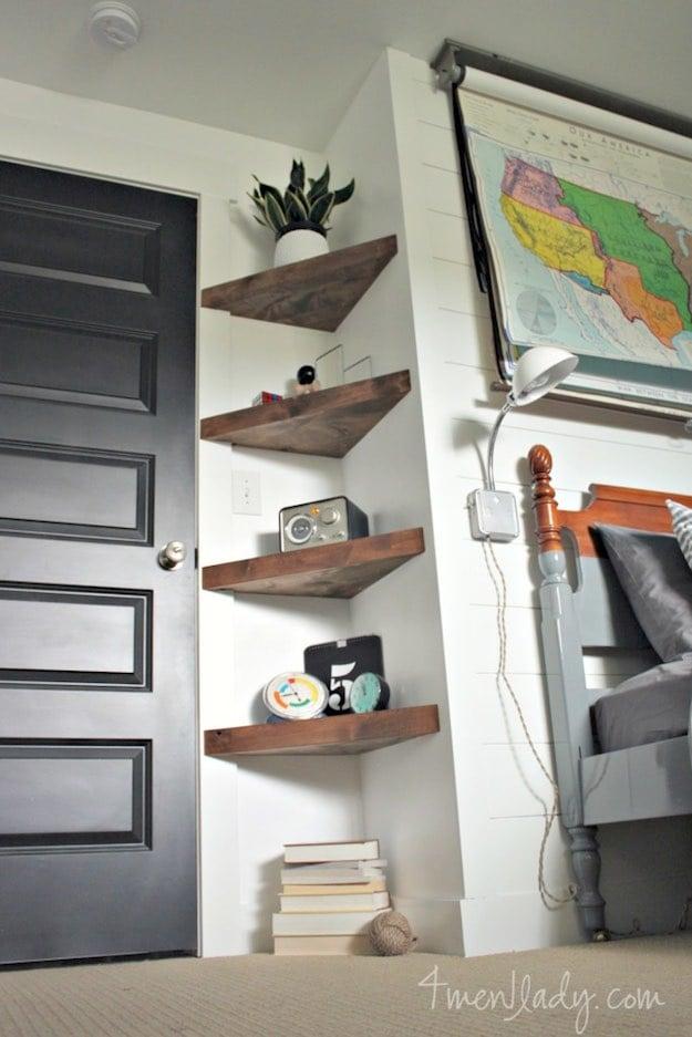 shelves living room decor wooden floor 13 simple shelving ideas diy projects small corner