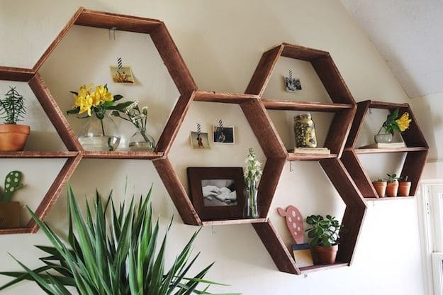 shelf ideas for living room showcase in on wall 13 simple shelving diy projects honeycomb shelves