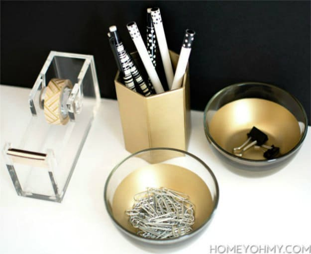 DIY Gold Desk Dishes | Nifty DIY Desk Organizer Ideas To Keep You Productive