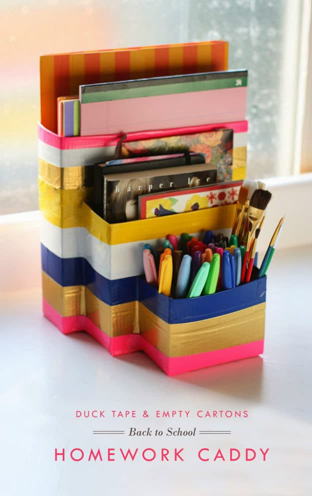 Recycle Empty Food Cartons To A Multi-purpose Organizer | Nifty DIY Desk Organizer Ideas To Keep You Productive