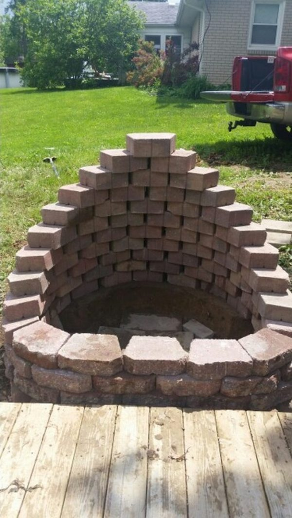 build fire pit cement landscape
