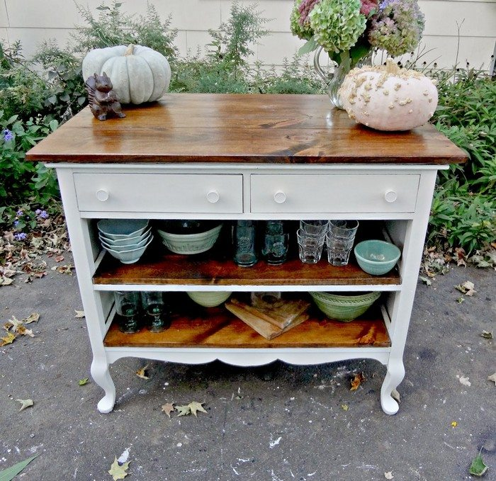 butcher block kitchen island cart appliances pay monthly how to turn an ugly dresser into a rustic ...