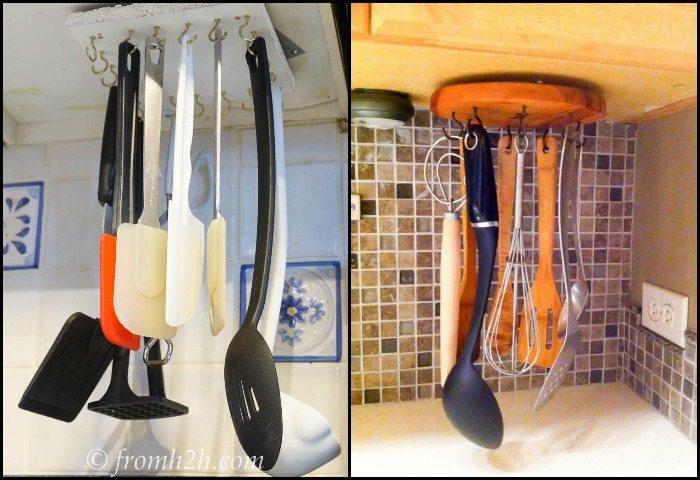 kitchen tool holder washable rugs for make a clever lazy susan utensil storage diy projects