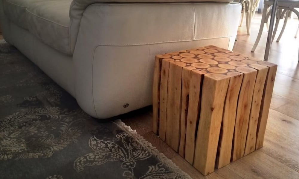 build your own wooden log side table