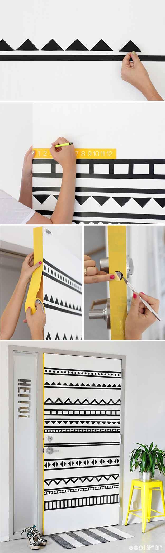 Cute Teen Bedroom Ideas for DIY Decor | DIY Door Art With Washi Tape | Cheap DIY Room Decor for Teens