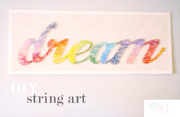 Cute Teen Bedroom Ideas for DIY Decor | DIY String Art Crafts - Dream Quote Rainbow Craft for Room Decor Teens