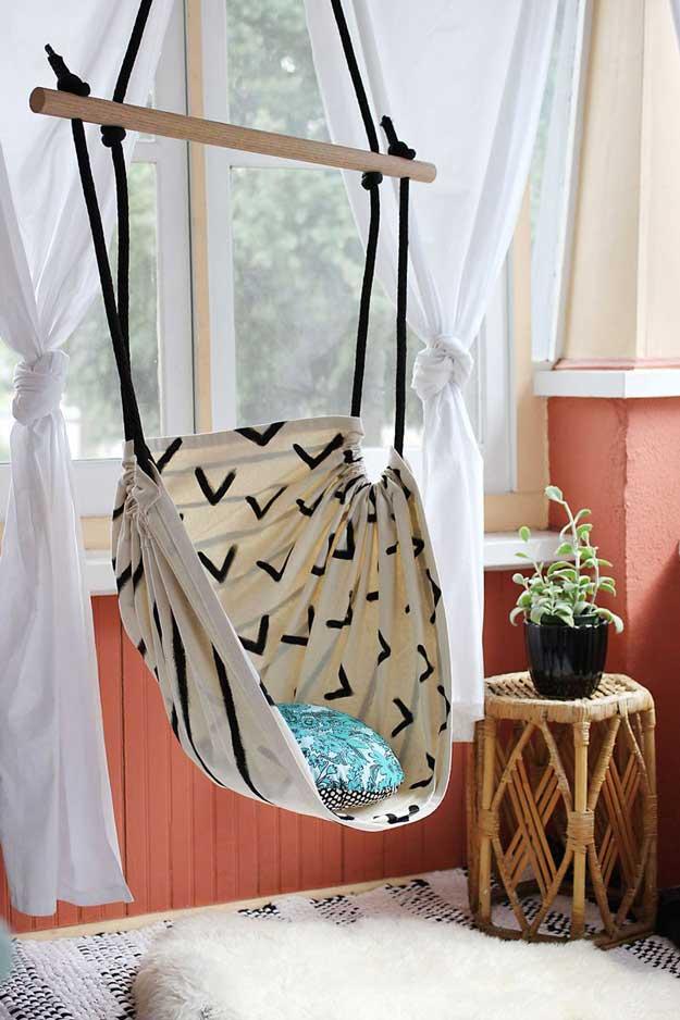 Cool DIY Room Decor Ideas for Teens - DIY Bedroom Decor for Teen Boy or Girl - How to Make A Hammock Chair Tutorial