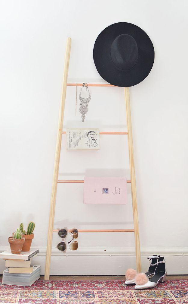 Diy Room Decor Ideas For S Wood Copper And Ladder Shelf