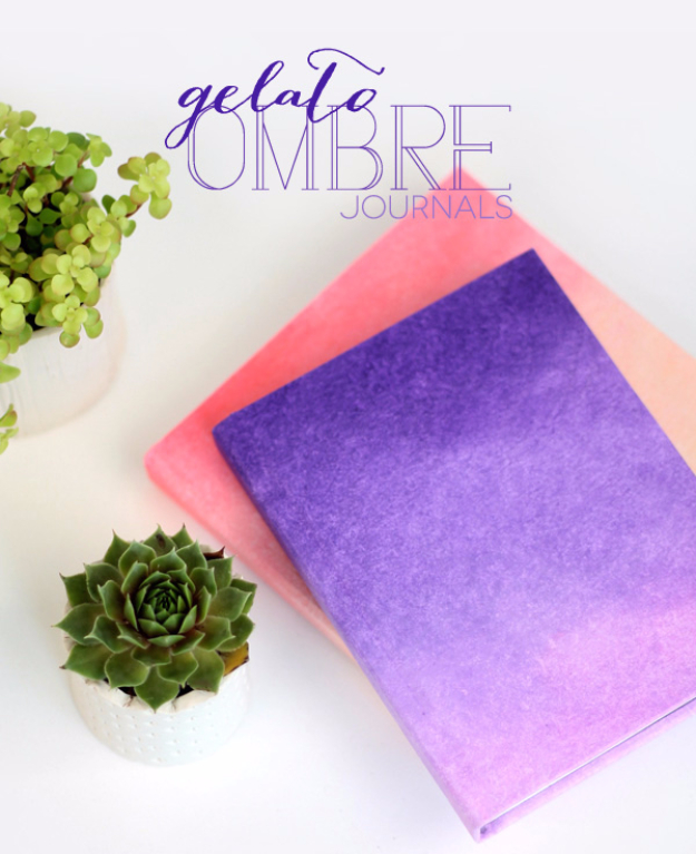 DIY School Supplies You Need For Back To School - DIY Ombre Journals - Cuter, Cool and Easy Projects for Teens, Tweens and Kids to Make for Middle School and High School. Fun Ideas for Backpacks, Pencils, Notebooks, Organizers, Binders http://diyprojectsforteens.com/diy-school-supplies
